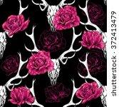 deer skull and beautiful pink... | Shutterstock .eps vector #372413479