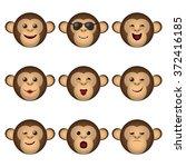 monkey emoticons set. nine ape... | Shutterstock . vector #372416185