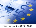 european union flag on a euro... | Shutterstock . vector #372417841