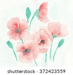 red poppies. hand made... | Shutterstock . vector #372423559