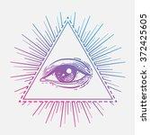 eye of providence. masonic... | Shutterstock .eps vector #372425605