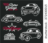 car line art. classic cars.... | Shutterstock .eps vector #372430015