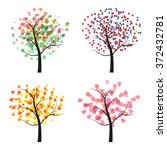 trees isolated on a white... | Shutterstock .eps vector #372432781