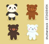 cute bear set. vector... | Shutterstock .eps vector #372435454