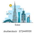 dubai city skyline background.... | Shutterstock .eps vector #372449959