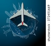travel text and airliner on... | Shutterstock .eps vector #372451669