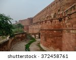 walls of the red fort of agra ...   Shutterstock . vector #372458761