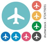 flat airplane icon set on round ...