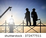 silhouette successful male... | Shutterstock . vector #372477511