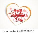 valentine's day golden hearts... | Shutterstock .eps vector #372503515