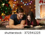 older brother with little... | Shutterstock . vector #372541225