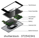 an exploded diagram showing the ...   Shutterstock .eps vector #372542341