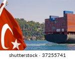 Container Cargo Ship Crossing...