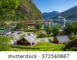 cruise ship in the port of flam ... | Shutterstock . vector #372560887
