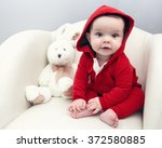 portrait of cute adorable... | Shutterstock . vector #372580885