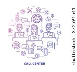 call center concept in thin... | Shutterstock .eps vector #372591541