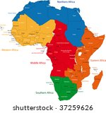 colorful regions of africa with ... | Shutterstock . vector #37259626