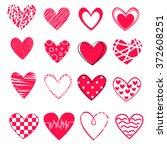 vector hearts set   16...   Shutterstock .eps vector #372608251
