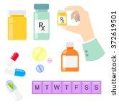 pills and drug medicaments in... | Shutterstock .eps vector #372619501