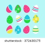 set of easter eggs isolated on... | Shutterstock .eps vector #372630175