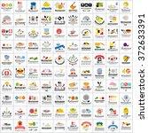 restaurant flat icons set  ... | Shutterstock .eps vector #372633391