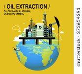 oil extraction upon sea in flat ... | Shutterstock . vector #372654391
