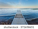 Boating dock at shore of large Lesser Slave Lake in Alberta, Canada
