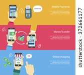 mobile payments banners set in... | Shutterstock .eps vector #372661177