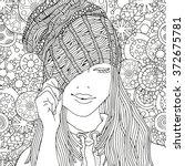 girl in a knitted cap. pattern... | Shutterstock .eps vector #372675781