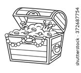 coloring book. treasure chest... | Shutterstock .eps vector #372687754