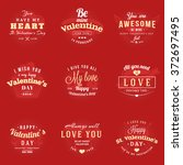 set of happy valentines day... | Shutterstock .eps vector #372697495