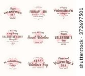 set of happy valentines day... | Shutterstock .eps vector #372697501