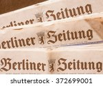 Small photo of BERLIN, GERMANY - FEBRUARY 9, 2015: Berliner Zeitung newspaper masthead nameplate vintage