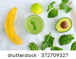 green smoothie made from banana ... | Shutterstock . vector #372709327