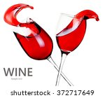 glasses of red wine with splash ... | Shutterstock . vector #372717649