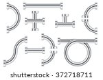 metal chrome pipes with flange. ... | Shutterstock .eps vector #372718711