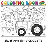 coloring book tractor near farm ... | Shutterstock .eps vector #372723691