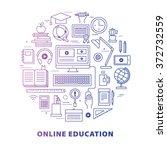 online education concept in... | Shutterstock .eps vector #372732559