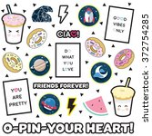 sticker pin trendy label patch... | Shutterstock .eps vector #372754285