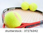 3 tennis ball on racket on white | Shutterstock . vector #37276342
