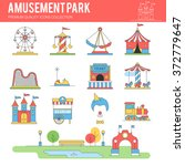 carnival in amusement park.... | Shutterstock .eps vector #372779647