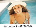happy young woman having fun in ... | Shutterstock . vector #372780004
