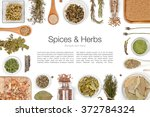 various spices and herbs on... | Shutterstock . vector #372784324