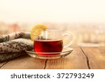 black tea with lemon slices in... | Shutterstock . vector #372793249