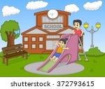 children playing slide on the... | Shutterstock .eps vector #372793615