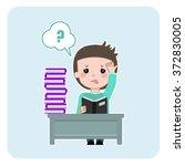 student learning hard. boy... | Shutterstock .eps vector #372830005