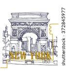 scene street illustration. hand ... | Shutterstock .eps vector #372845977