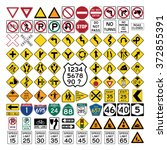 road signs and symbols | Shutterstock .eps vector #372855391