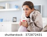 sick woman  flu woman. caught... | Shutterstock . vector #372872431