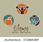 healthy lifestyle design ... | Shutterstock .eps vector #372884389